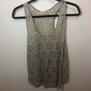 Aritzia - Wilfred floral lace grey tank top